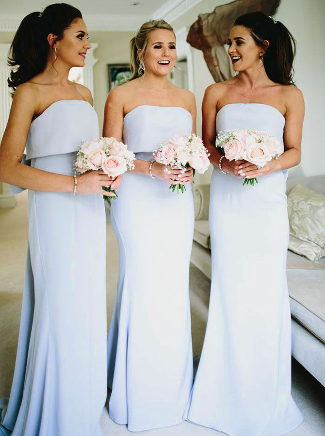 Mermaid Strapless Light Blue Chiffon Bridesmaid Dress with Bowknot фото