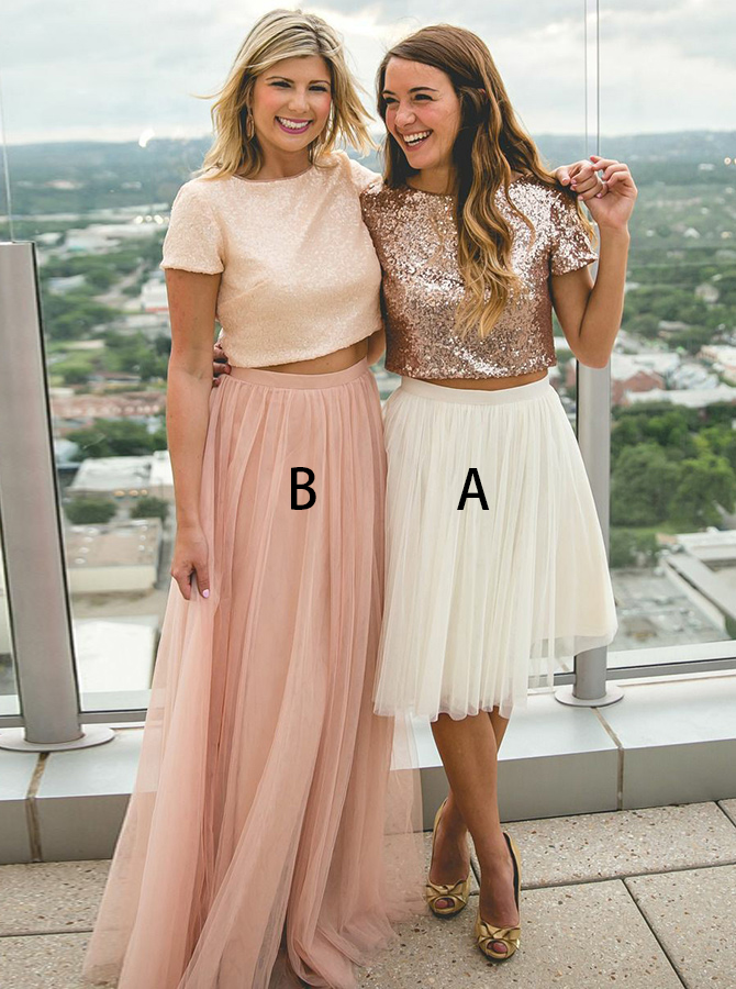 Two Piece Round Neck Rose Gold Tulle Bridesmaid Dress фото