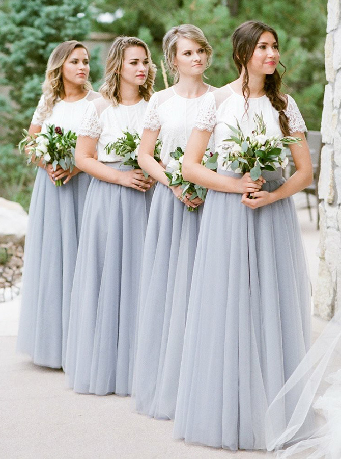 Two Piece Round Neck Grey Tulle Bridesmaid Dress with Lace фото