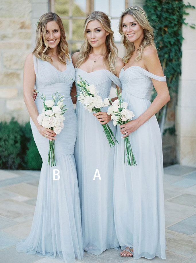 A-Line Off-the-Shoulder Light Blue Chiffon Bridesmaid Dress фото