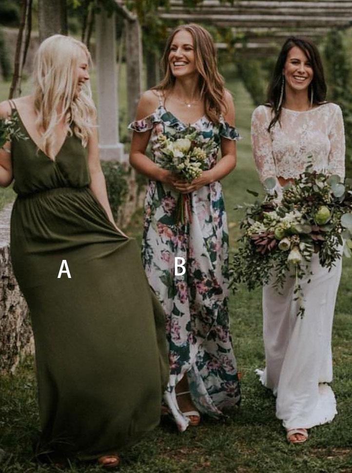 A-Line V-Neck Sleeveless Dark Green Chiffon Bridesmaid Dress фото