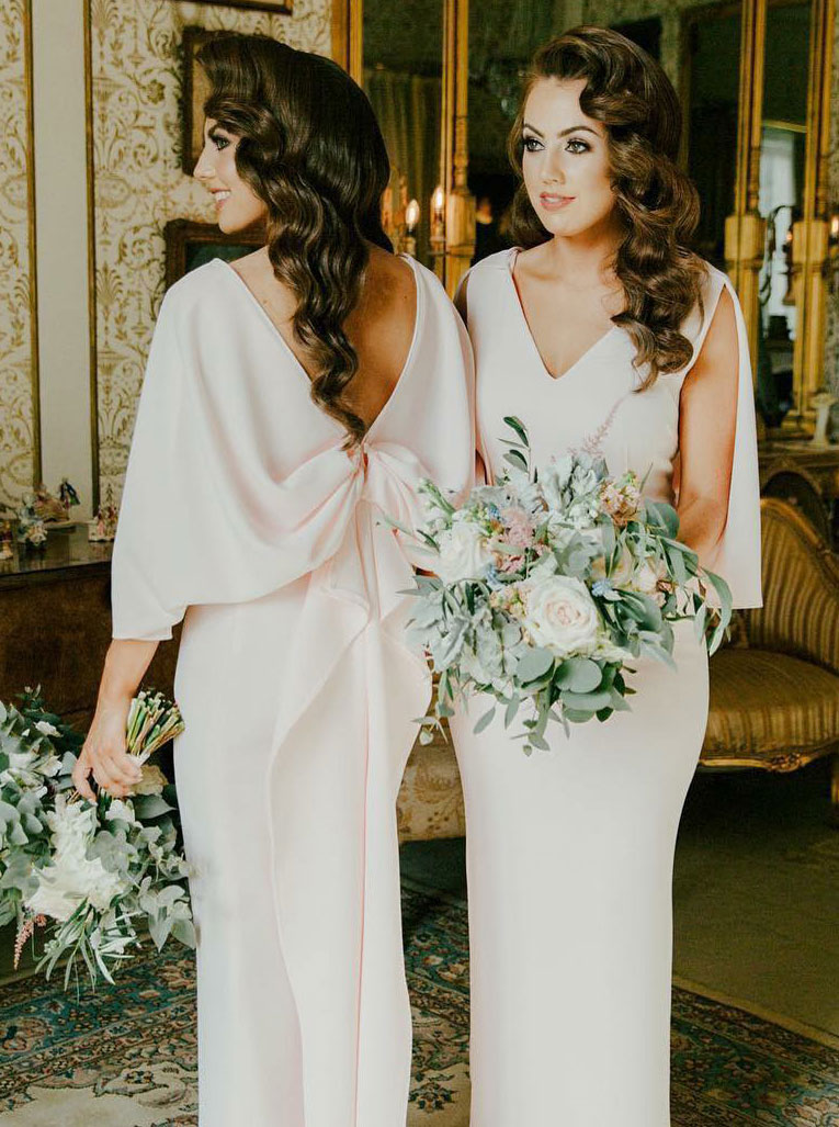 Sheath V-Neck Pearl Pink Satin Bridesmaid Dress with Ruffles фото
