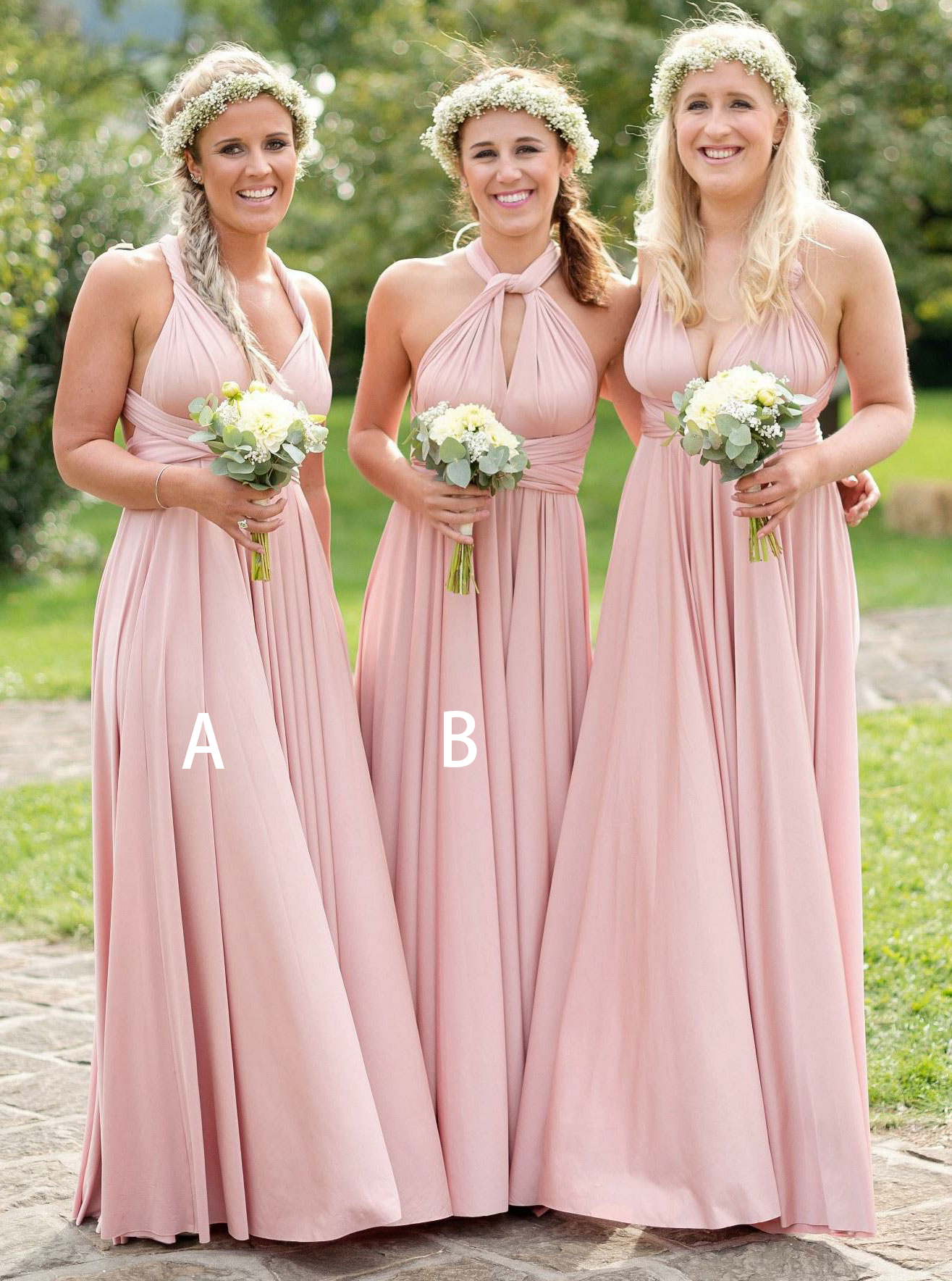 A-Line V-Neck Floor Length Pleated Pink Satin Bridesmaid Dress фото
