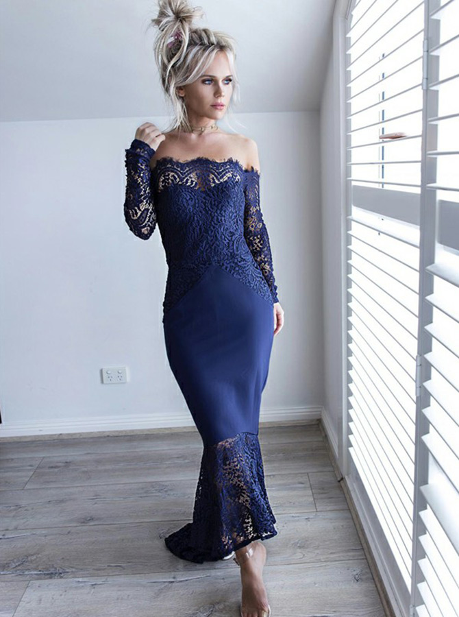Mermaid Off-the-Shoulder Navy Blue Bridesmaid Dress with Lace фото