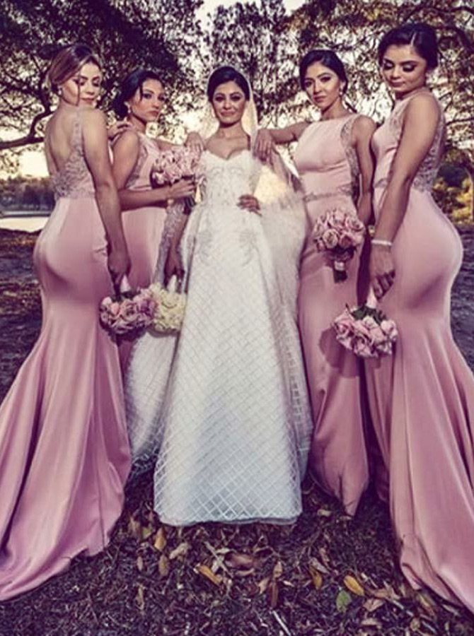 Mermaid Bateau Pink Satin Bridesmaid Dress with Beading