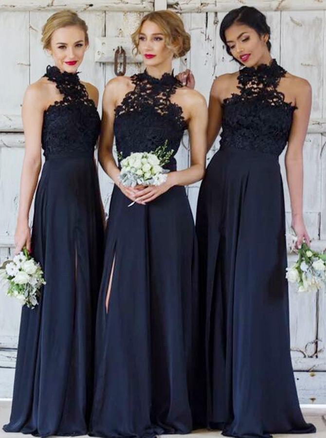 A-Line High Neck Navy Blue Chiffon Bridesmaid Dress with Lace Split фото