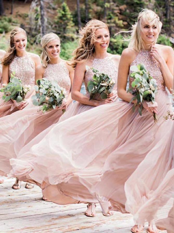 A-Line Halter Sweep Train Pink Chiffon Bridesmaid Dress with Sequins фото