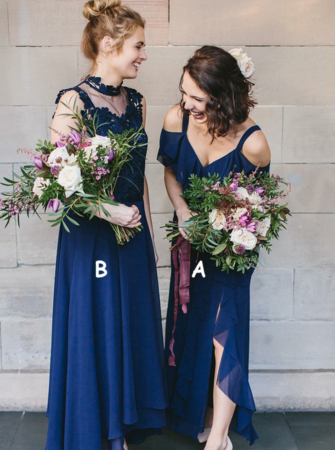 A-Line Cold Shoulder Navy Blue Chiffon Bridesmaid Dress with Ruffles фото