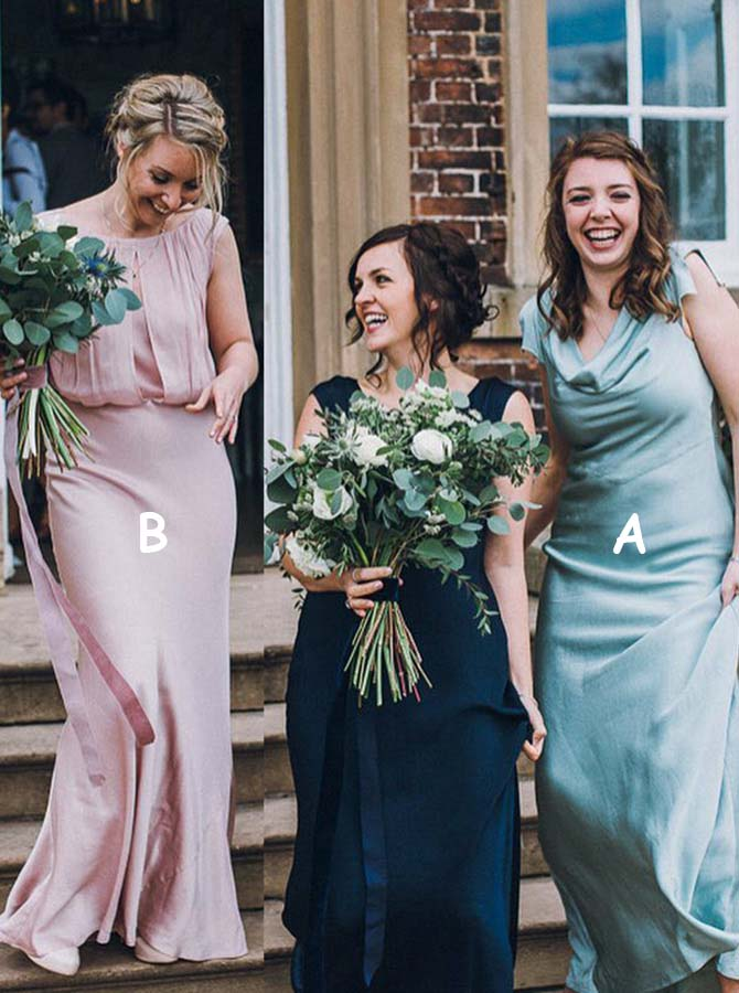 Sheath Scoop Floor Length Turquoise Satin Bridesmaid Dress Simple-dress