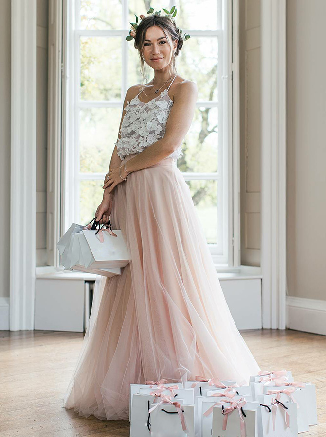 A-Line Halter Long Pink Tulle Bridesmaid Dress with Appliques фото