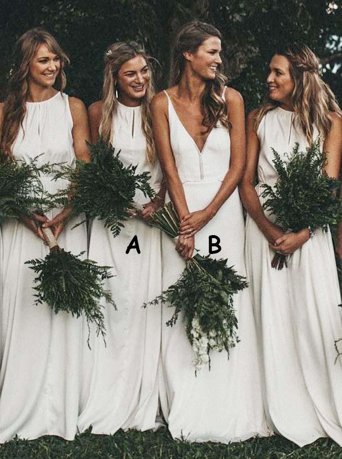 A-Line Round Neck White Chiffon Bridesmaid Dress with Keyhole фото