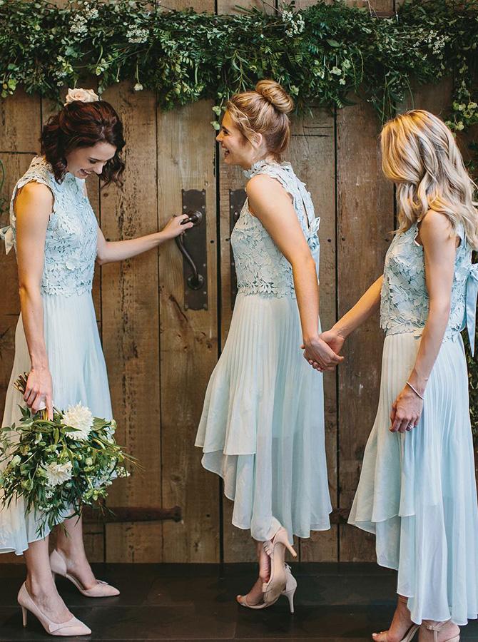 High Neck Asymmetry Train Pleats Blue Chiffon Bridesmaid Dress with Lace фото