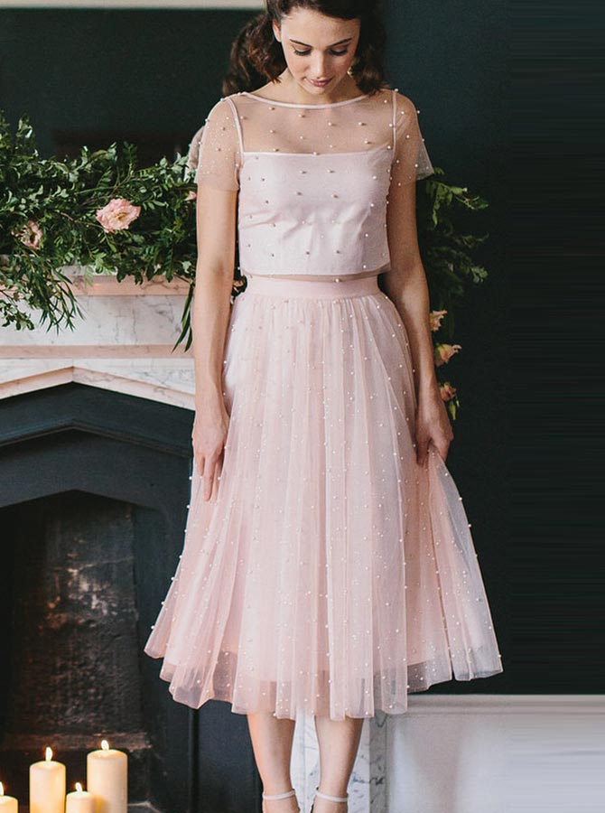 Two Piece Tea Length Pink Tulle Bridesmaid/Homecoming Dress with Pearls фото