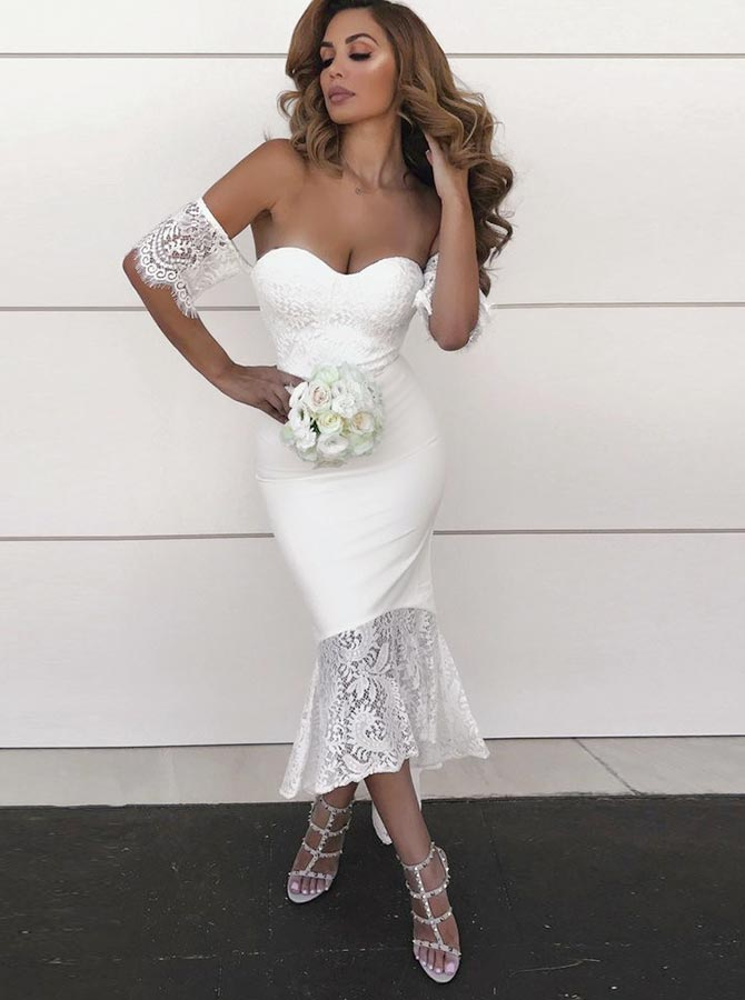 Mermaid Sweetheart High Low White Bridesmaid Dress with Lace фото