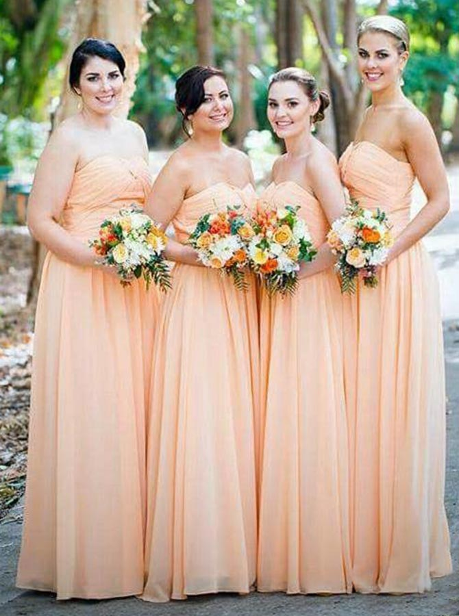 A-Line Sweetheart Ruched Long Orange Chiffon Bridesmaid Dress фото