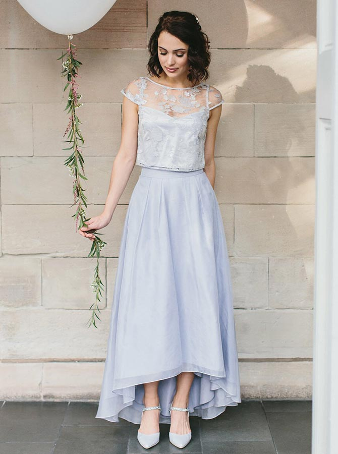Two Piece Round Neck Light Blue Chiffon Bridesmaid Dress with Lace фото
