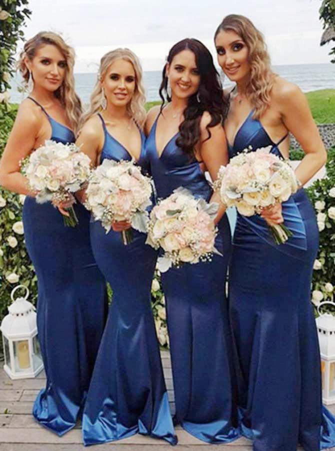 Mermaid Spaghetti Straps Sweep Train Blue Satin Bridesmaid Dress фото