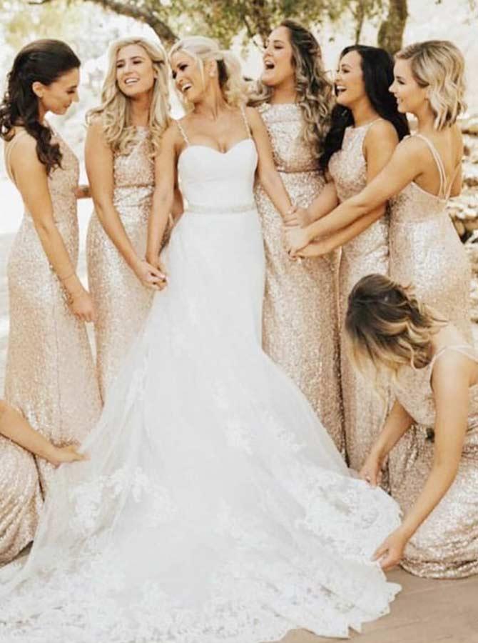 Sheath Bateau Rose Gold Long Sequined Bridesmaid Dress фото