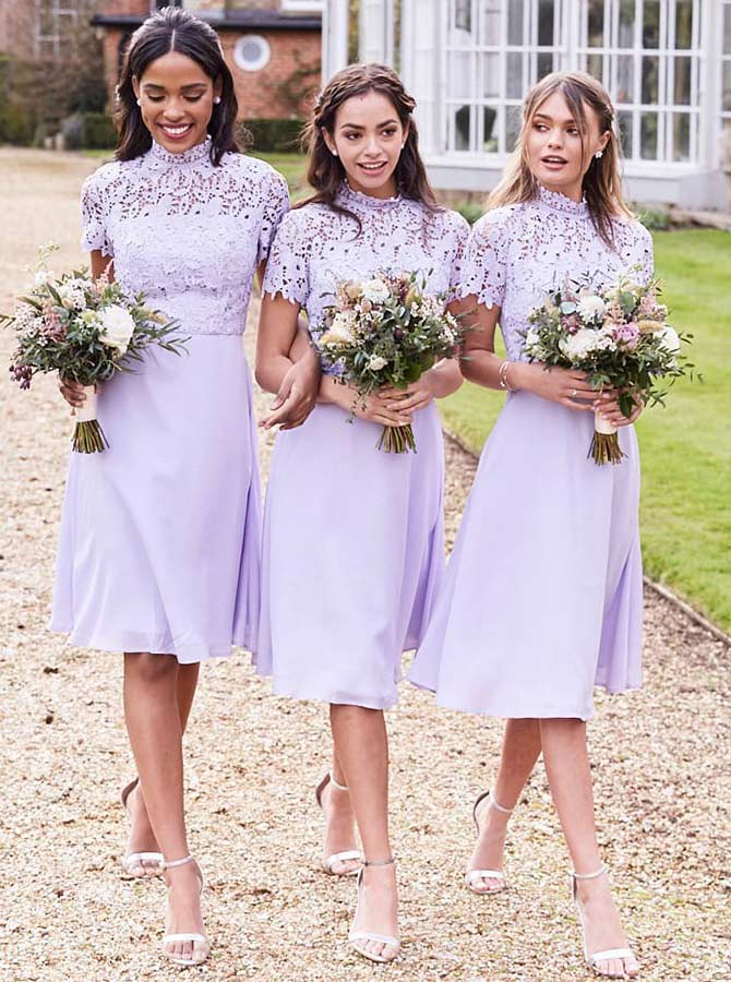 A-Line High Neck Knee Length Lilac Chiffon Bridesmaid Dress with Lace фото