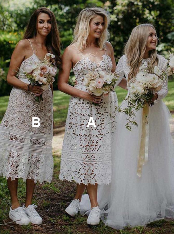 A-Line Spaghetti Straps Tea Length White Lace Bridesmaid Dress фото
