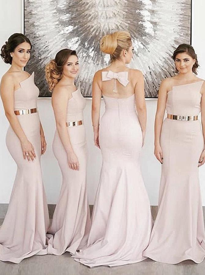 Mermaid Strapless Sweep Train Pink Satin Bridesmaid Dress with Belt