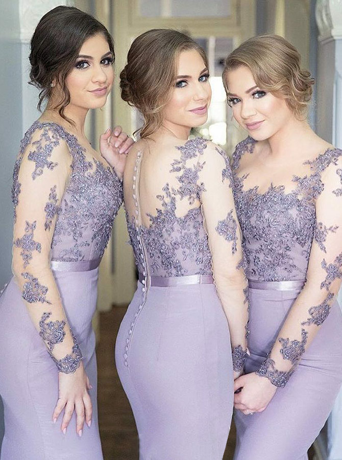 Sheath Round Neck Lavender Satin Bridesmaid Dress with Appliques Sleeves фото