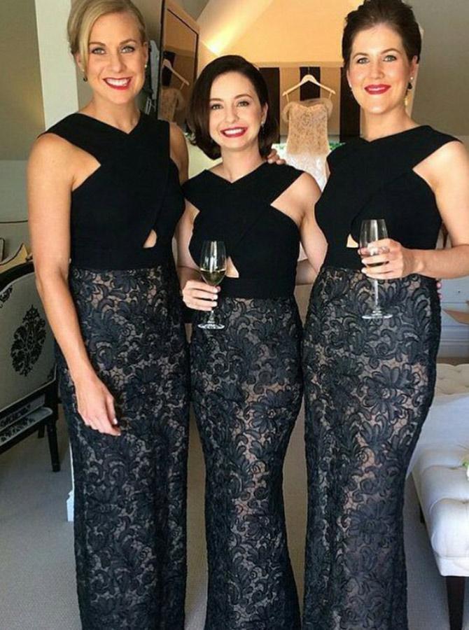 Sheath Cross V-Neck Cut Out Black Lace Bridesmaid Dress фото