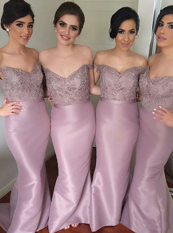 Sheath Off-the-Shoulder Lavender Satin Bridesmaid Dress with Lace Beading фото