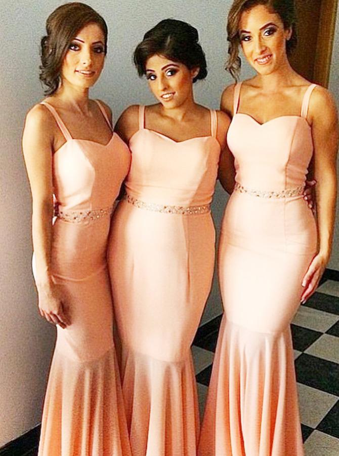 Mermaid Straps Sweep Train Pink Satin Bridesmaid Dress with Beading, Coral