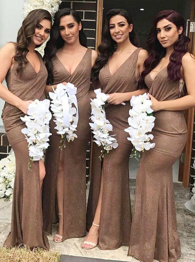 Mermaid V-Neck Long Brown Spandex Bridesmaid Dress with Split фото