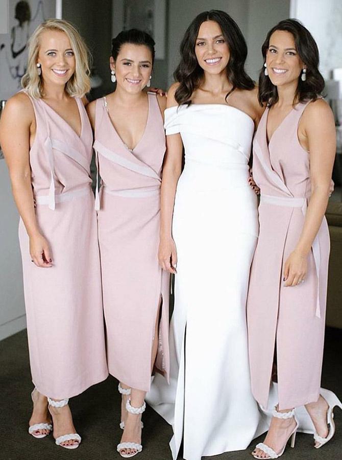 Sheath V-Neck Ankle Length Pink Chiffon Bridesmaid Dress with Split
