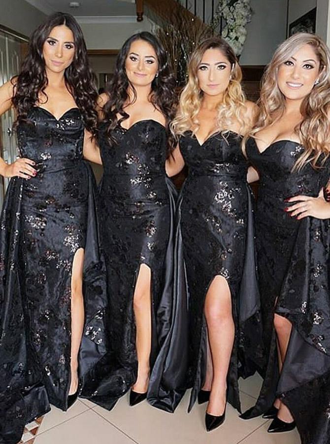 Sheath Sweetheart Detachable Train Black Lace Bridesmaid Dress with Split фото