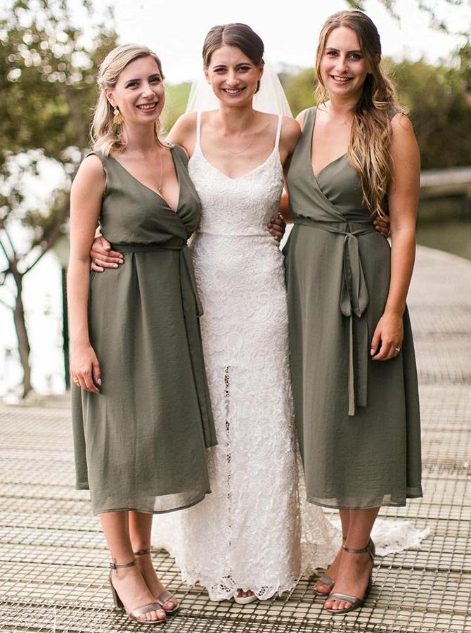 A-Line V-Neck Tea-Length Green Chiffon Bridesmaid Dress with Sash фото