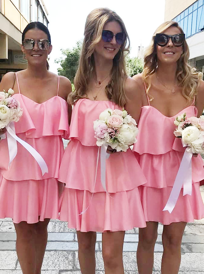 A-Line Spaghetti Straps Tiered Pink Satin Bridesmaid Dress with Ruffles фото