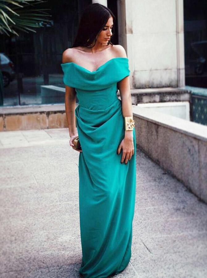A-Line Off-the-Shoulder Long Green Chiffon Bridesmaid Dress фото