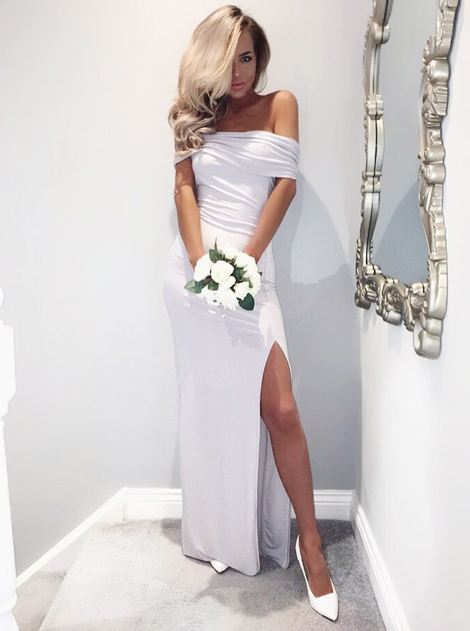 Sheath Off-the-Shoulder Light Grey Long Bridesmaid Dress with Split фото