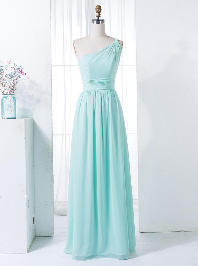 A-Line One Shoulder Floor-Length Mint Green Chiffon Bridesmaid Dress фото