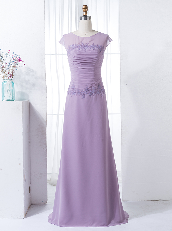 Sheath Bateau Cap Sleeves Lilac Chiffon Bridesmaid Dress with Appliques фото