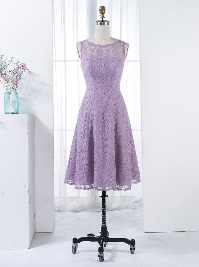A-Line Scalloped-Edge Sleeveless Short Lilac Lace Bridesmaid Dress фото