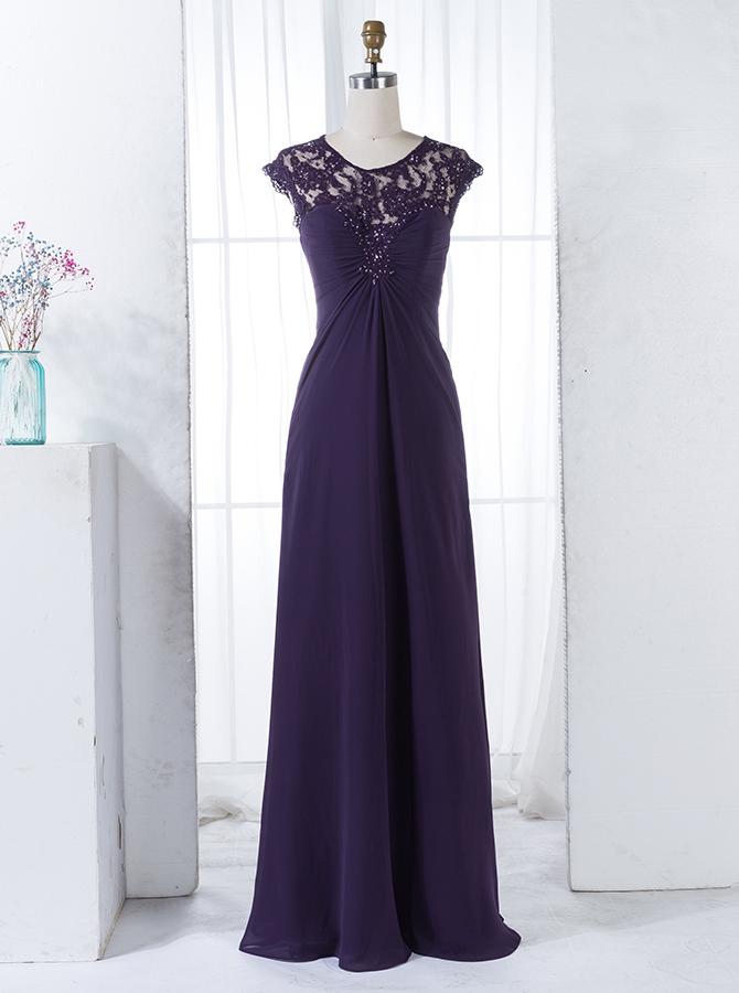 A-Line Round Neck Grape Chiffon Bridesmaid Dress with Beading Lace thumbnail