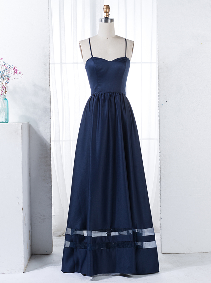 A-Line Spaghetti Straps Floor-Length Navy Blue Satin Bridesmaid Dress фото