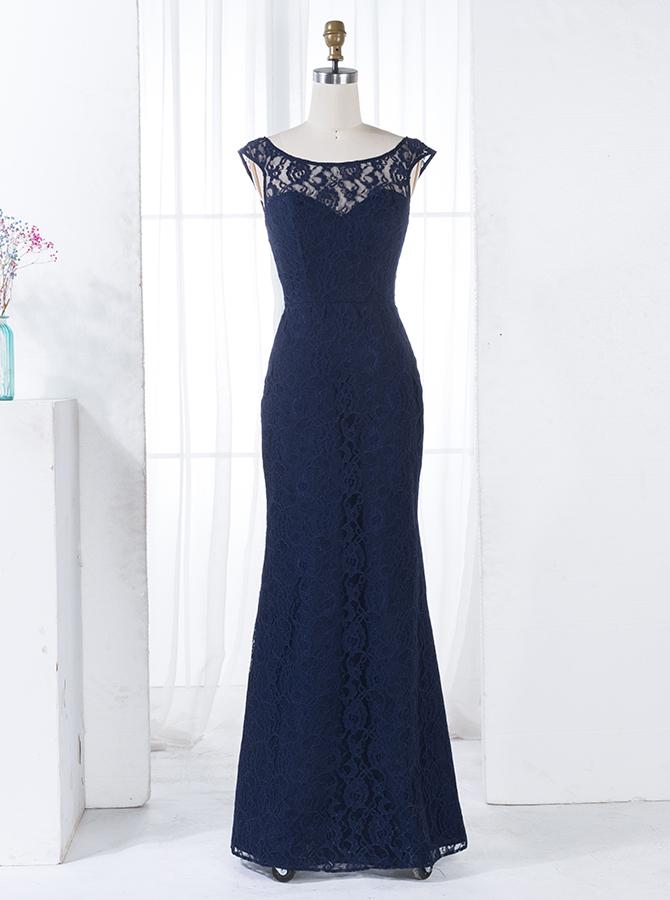 Sheath Bateau Floor-Length Backless Navy Blue Lace Bridesmaid Dress фото