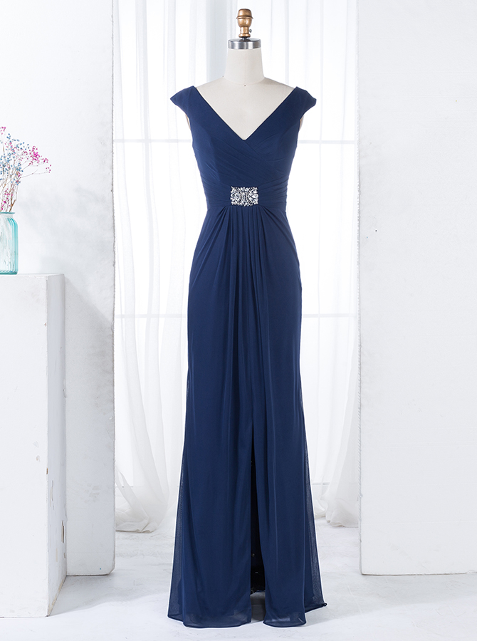 Sheath V-Neck Navy Blue Chiffon Bridesmaid Dress with Beading Split фото