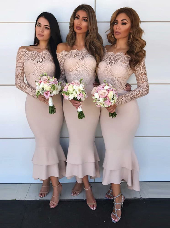 Mermaid Off-the-Shoulder Blush Satin Bridesmaid Dress with Lace фото