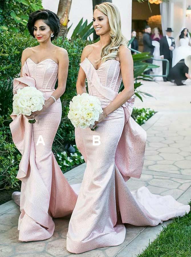 Mermaid Sweetheart Long Pink Satin Bridesmaid Dress with Ruffles