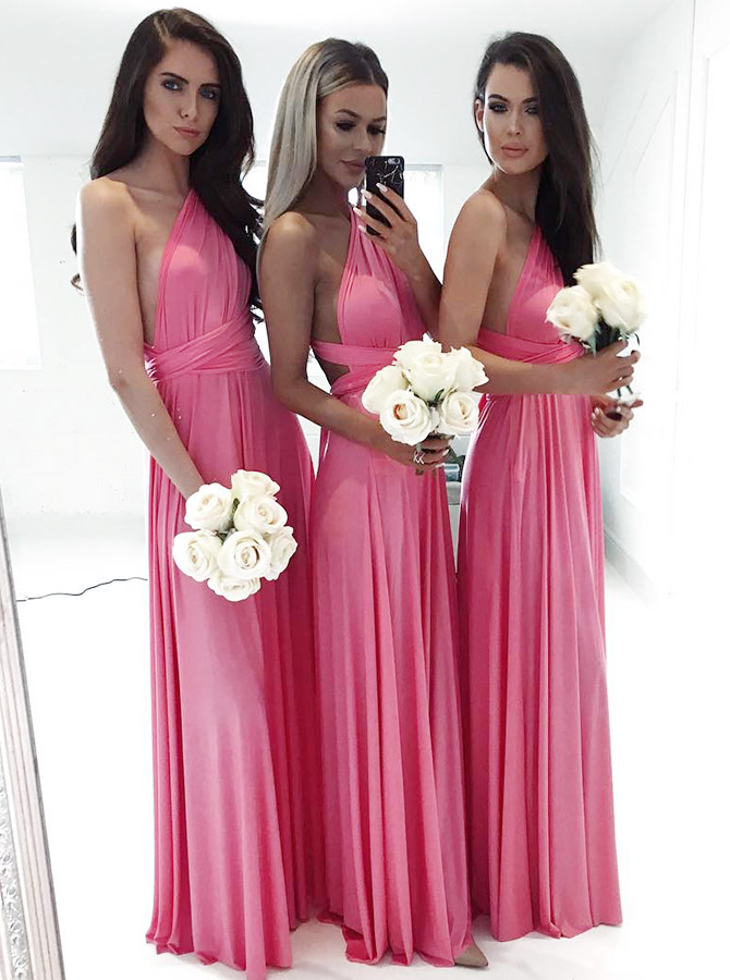 A-Line One-Shoulder Convertible Style Pink Satin Long Bridesmaid Dress фото