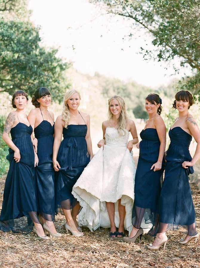 A-Line Halter Sweep Train Navy Blue Tulle Bridesmaid Dress