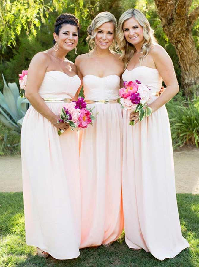 A-Line Sweetheart Pink Elastic Satin Bridesmaid Dress with Sash фото