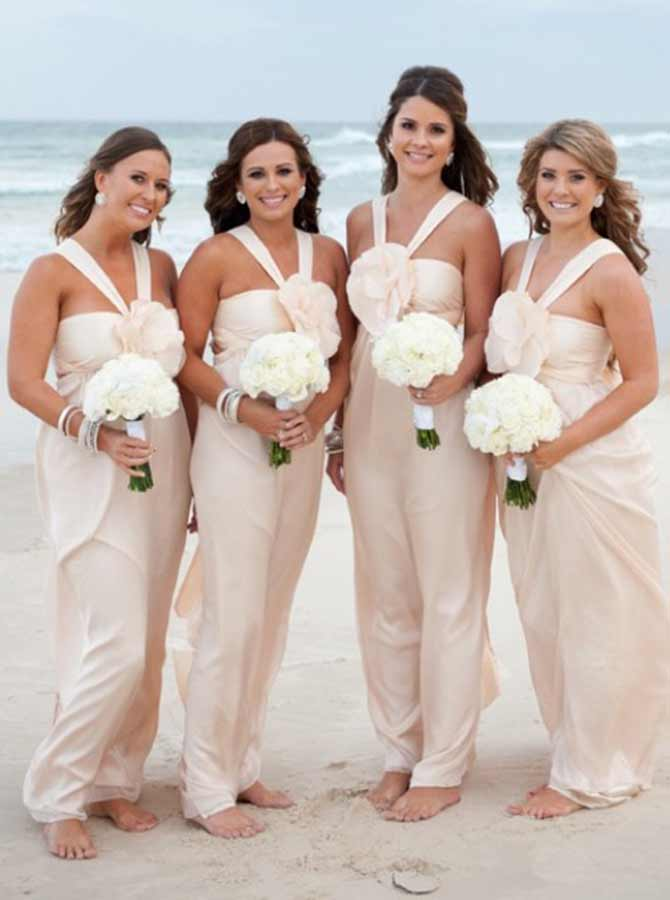 A-Line Cross Neck Ivory Elastic Satin Bridesmaid Dress with Flower фото