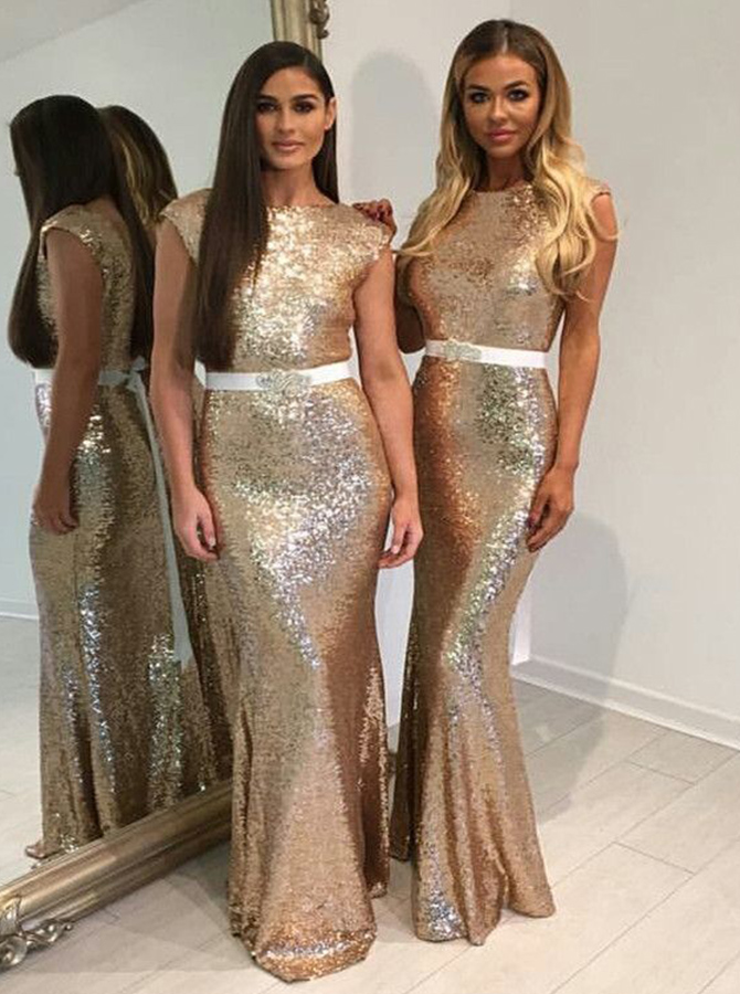 Mermaid Bateau Floor-Length Cap Sleeves Backless Gold Sequined Bridesmaid Dress with Sash